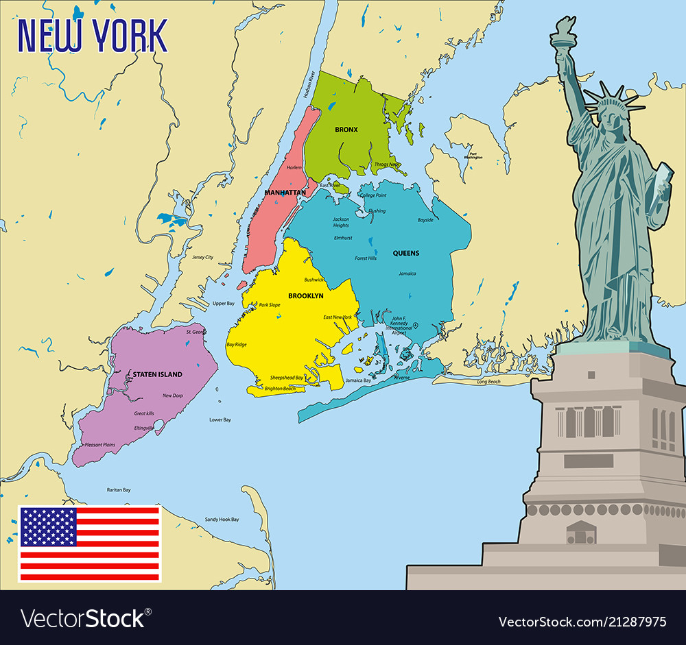 Map Of New York Royalty Free Vector Image Vectorstock