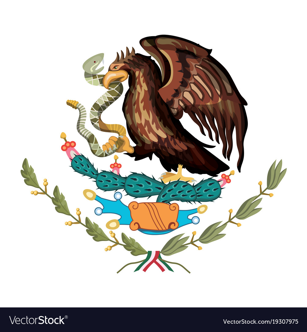 Mexican Flag Emblem Of Colorful Silhouette Of Vector Image