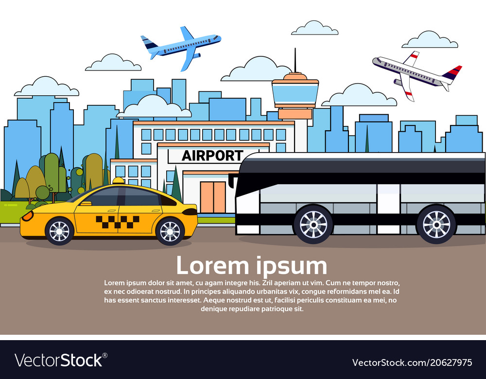 Road traffic with bus and taxi car over airport