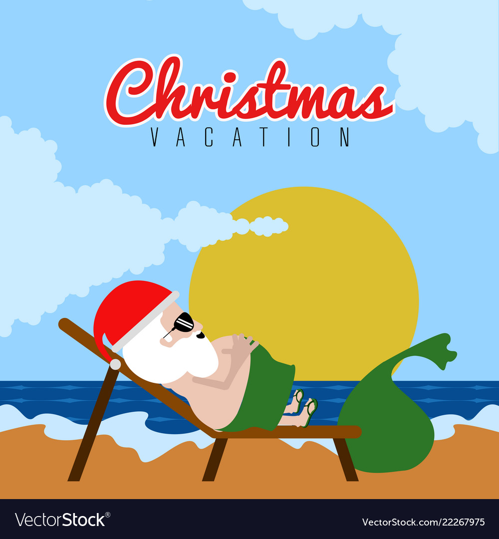 santa claus on a beach christmas summer vacations vector image - Beach Christmas Pictures