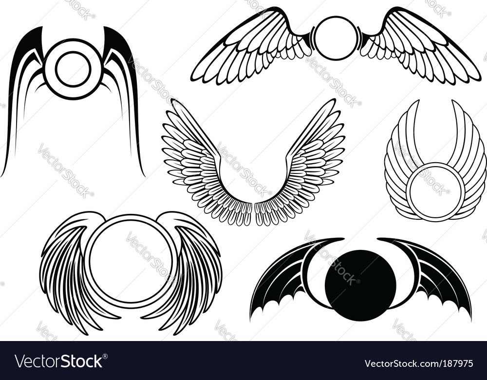 Set of wing symbols vector image