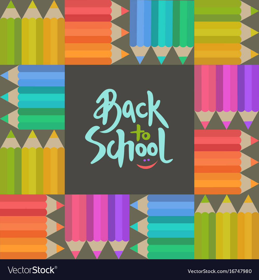 Back to school banner with pensils and lettering
