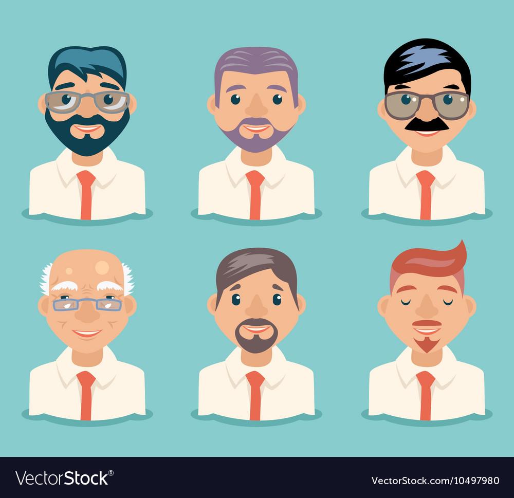 Businessman Avatars Retro Cartoon Characters