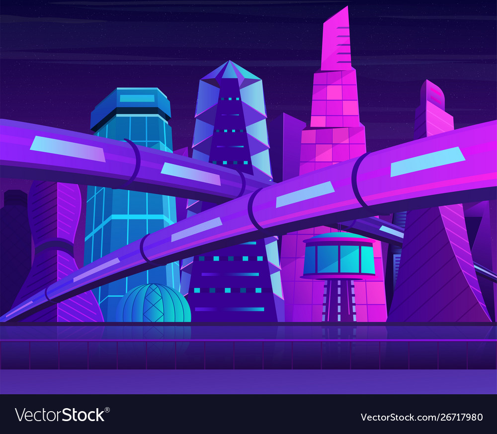 Futuristic neon night city with skyscrapers and vector