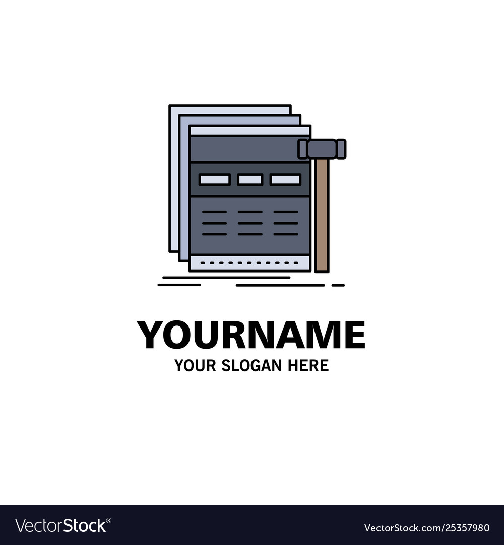 Internet page web webpage wireframe flat color