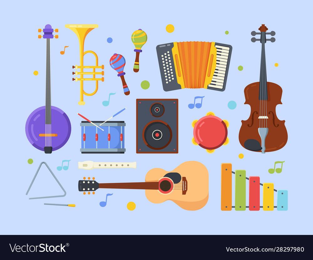 Modern ethnic musical instruments flat