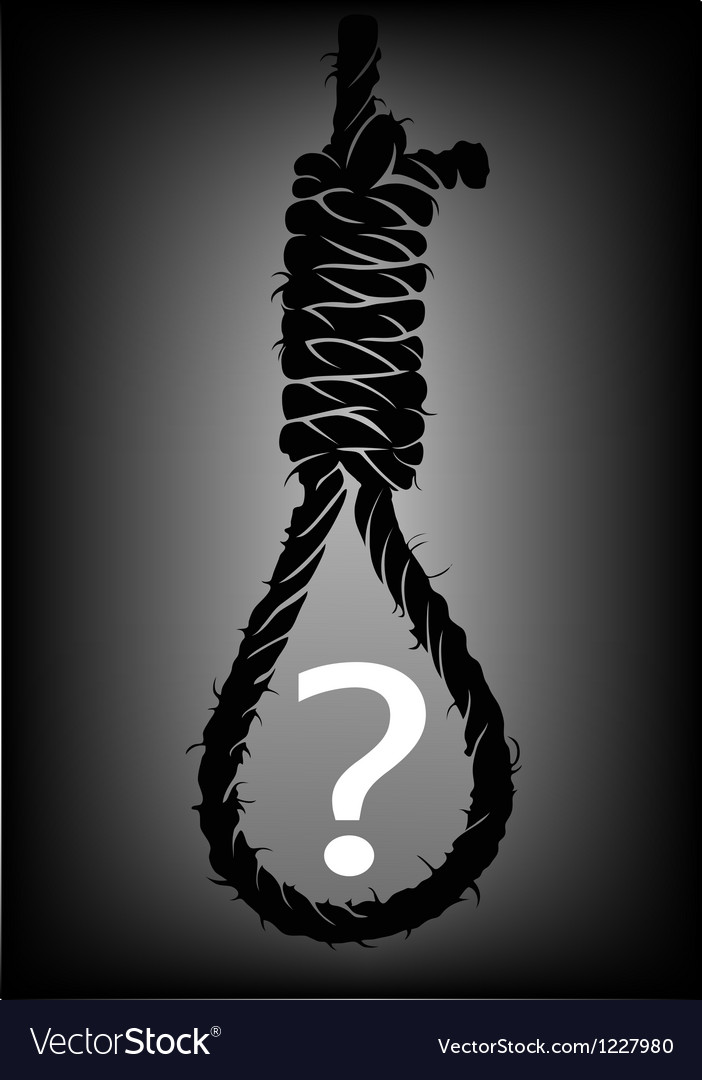 Old rope with hangmans noose with question