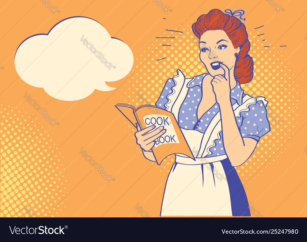 Retro young woman with cooking book pop art