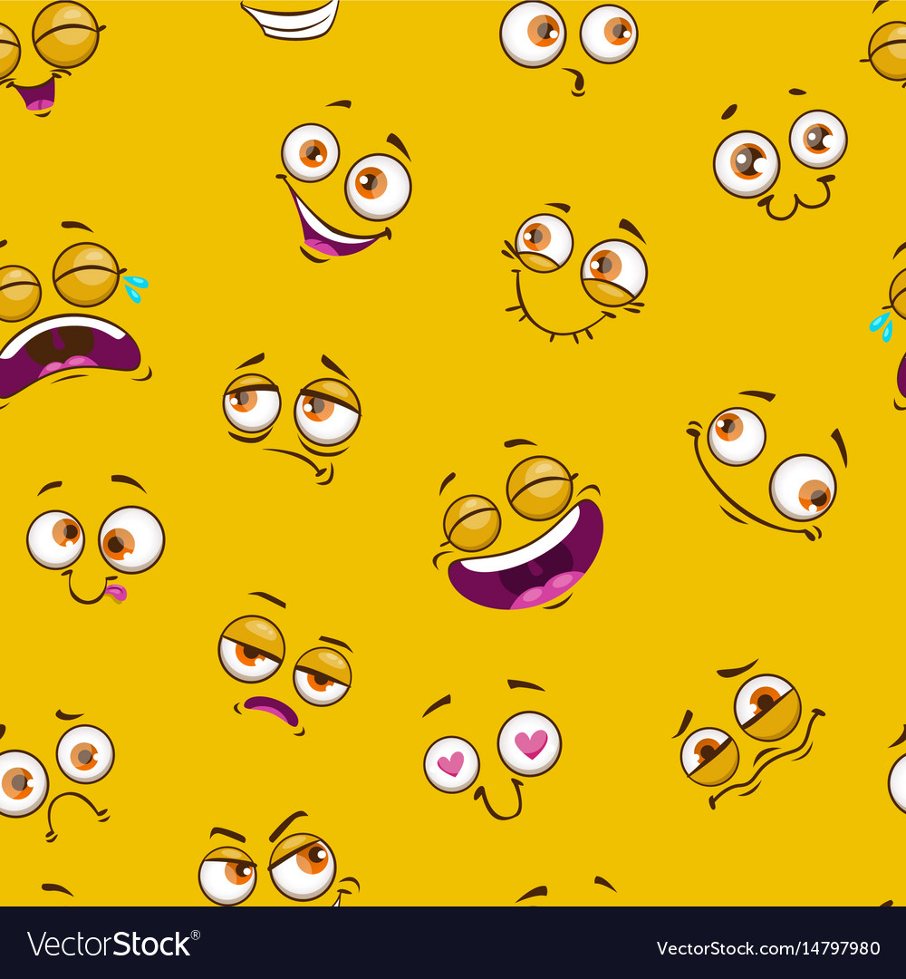 Seamless pattern with funny comic faces on yellow vector image