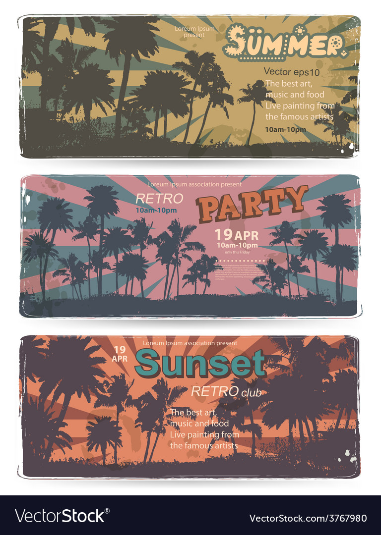 Set of Vintage summer banners with palm trees