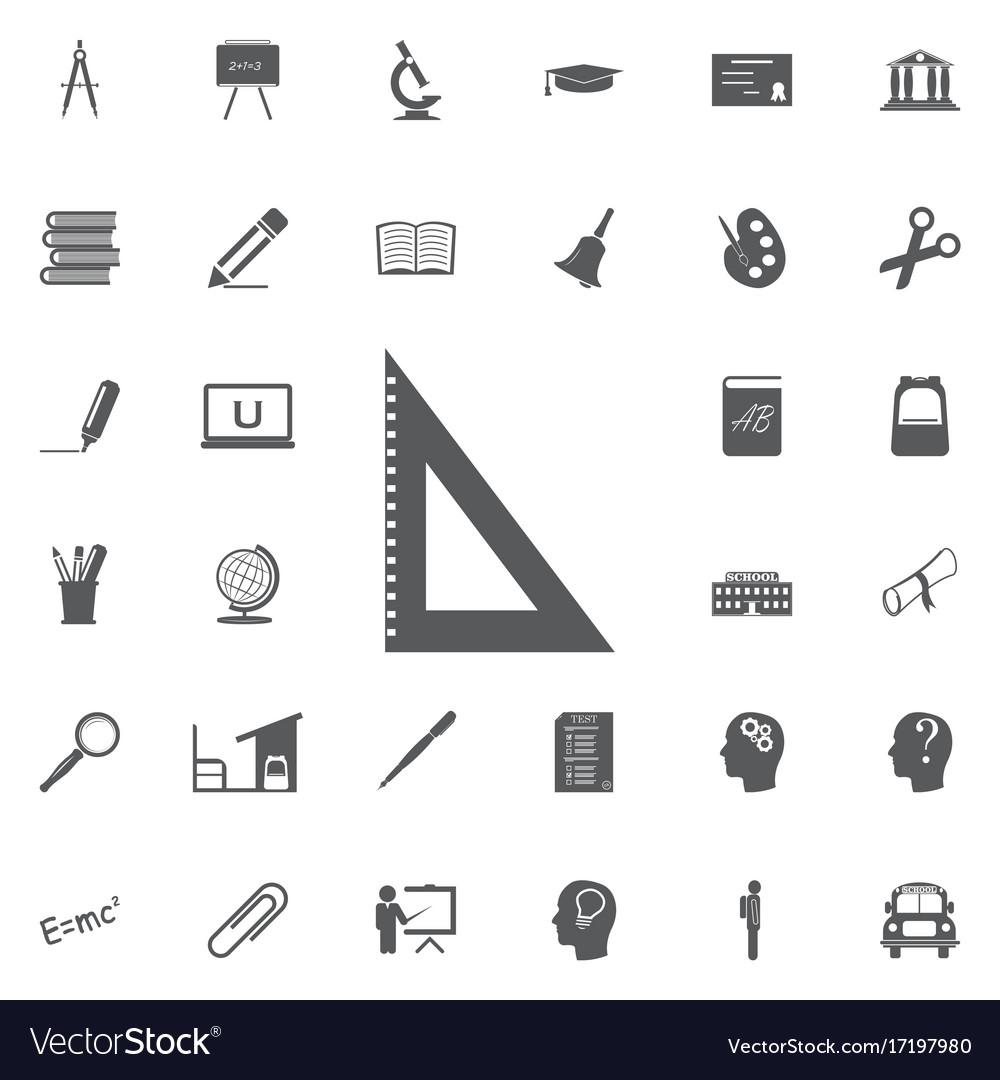 Triangular ruler icon straightedge sign