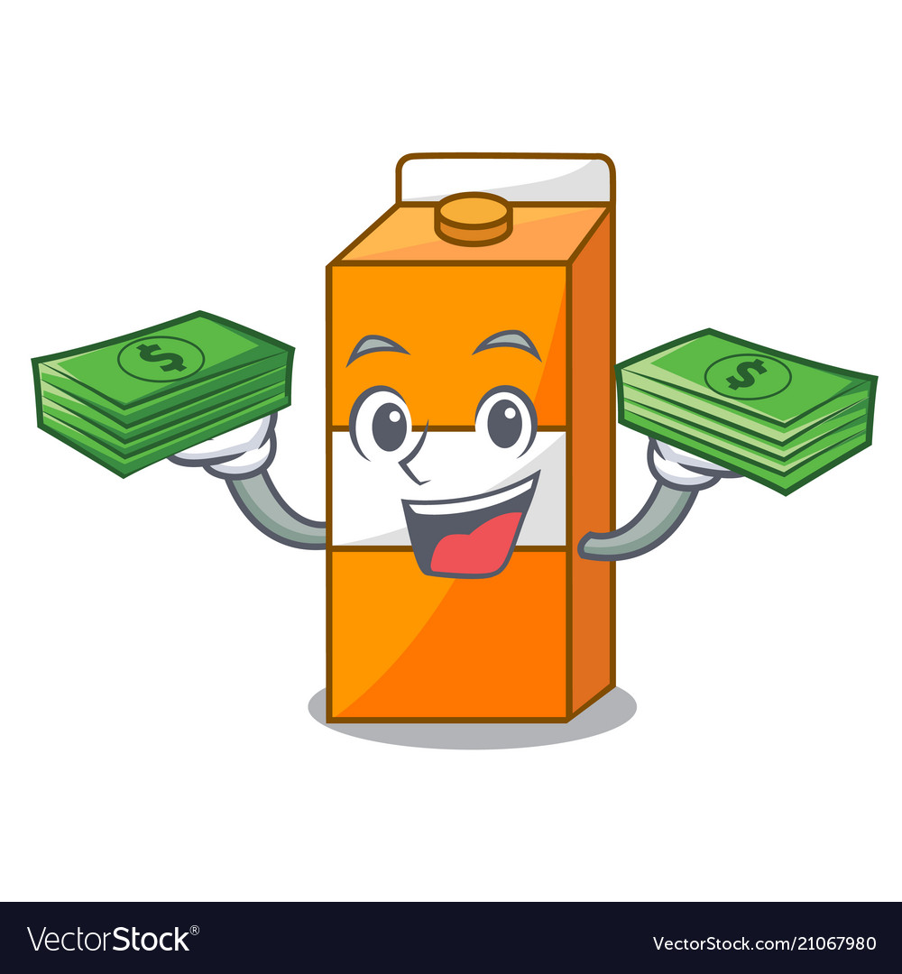 With money bag package juice mascot cartoon