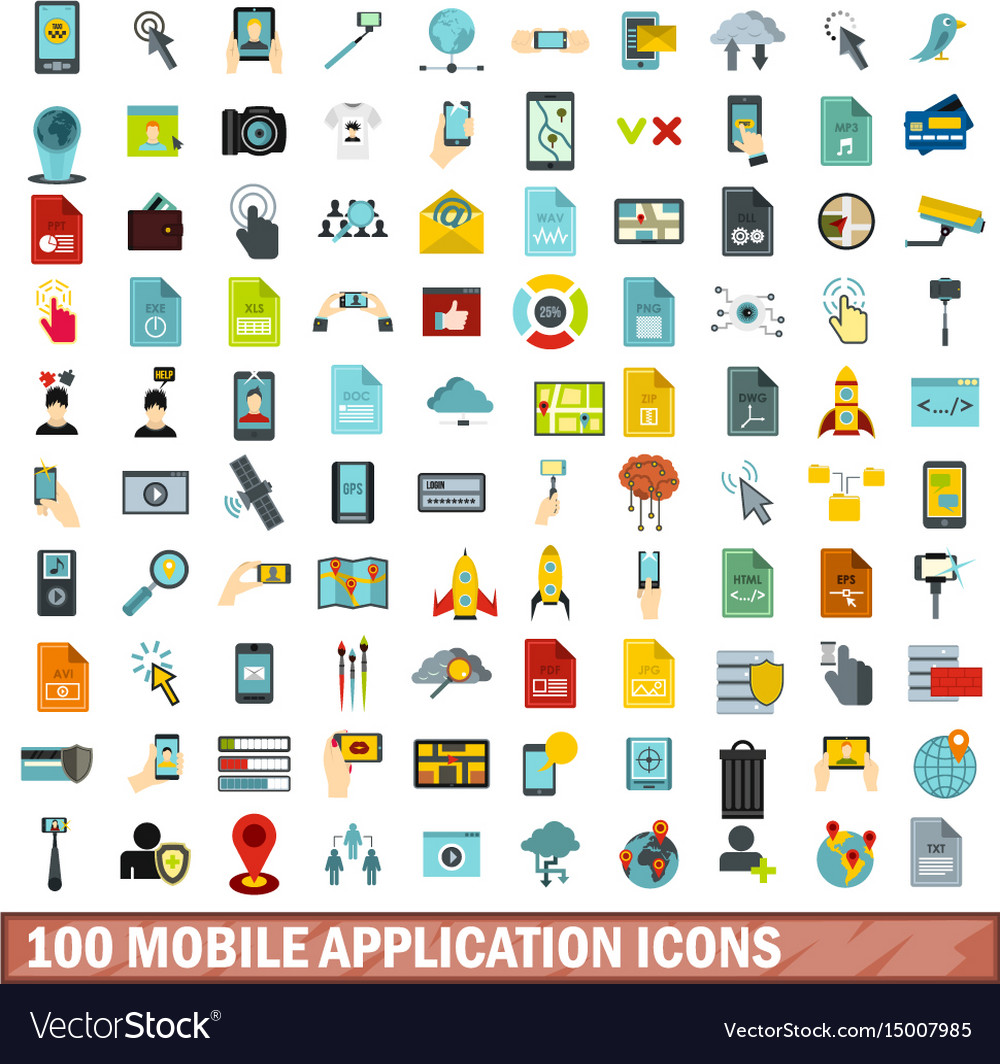 100 mobile application icons set flat style
