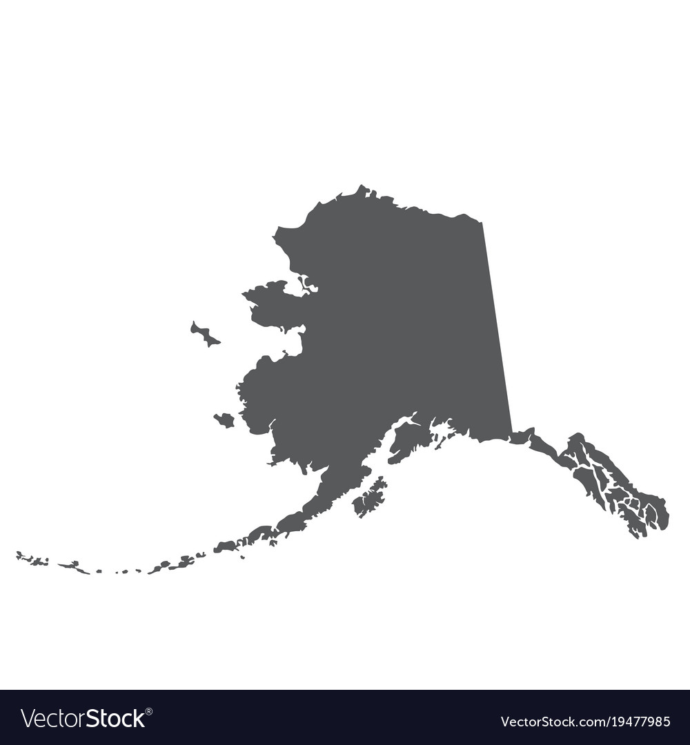 Alaska map silhouette   outline of state Vector Image