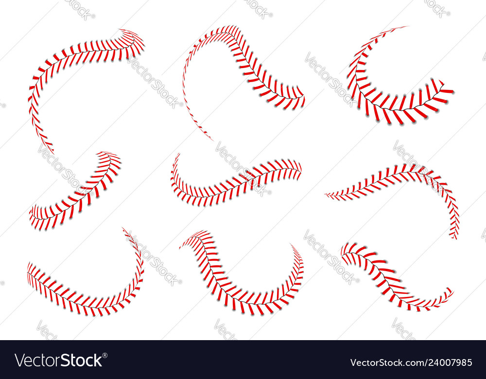 Baseball laces set baseball stitches with red