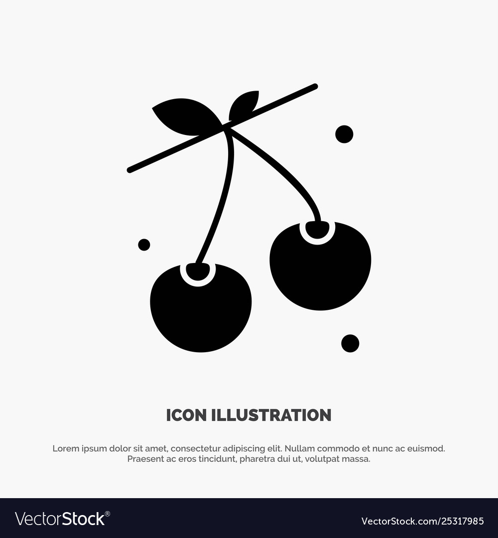 Berry cherry food spring solid glyph icon