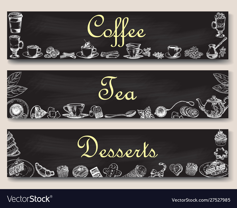 Coffee tea and desserts banner template