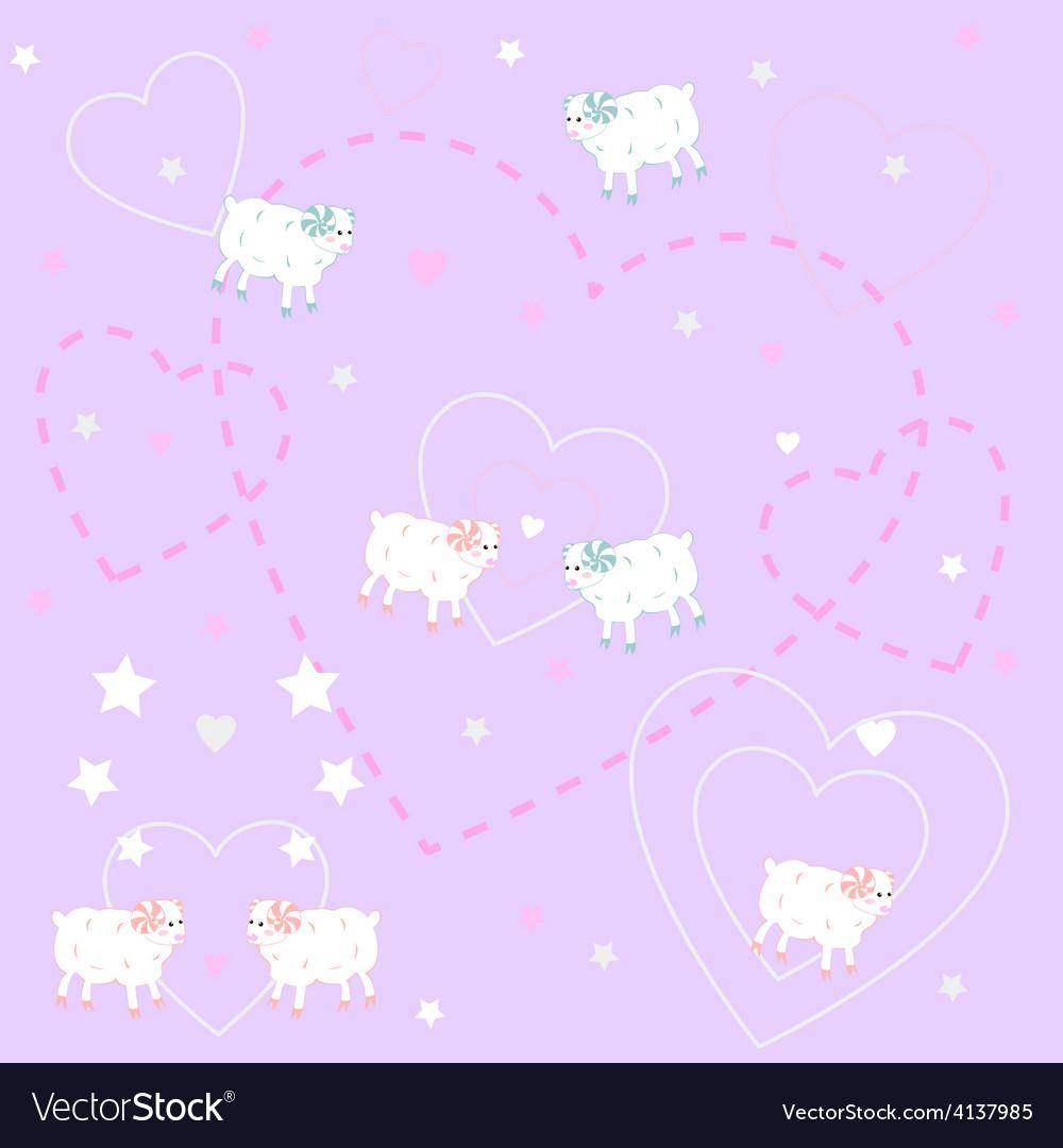 Cute lambs vector image