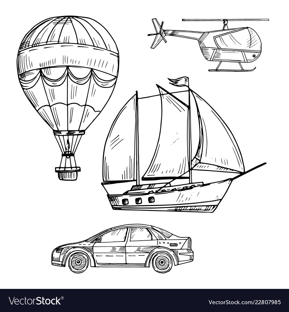Doodle style drawing land air and sea transport