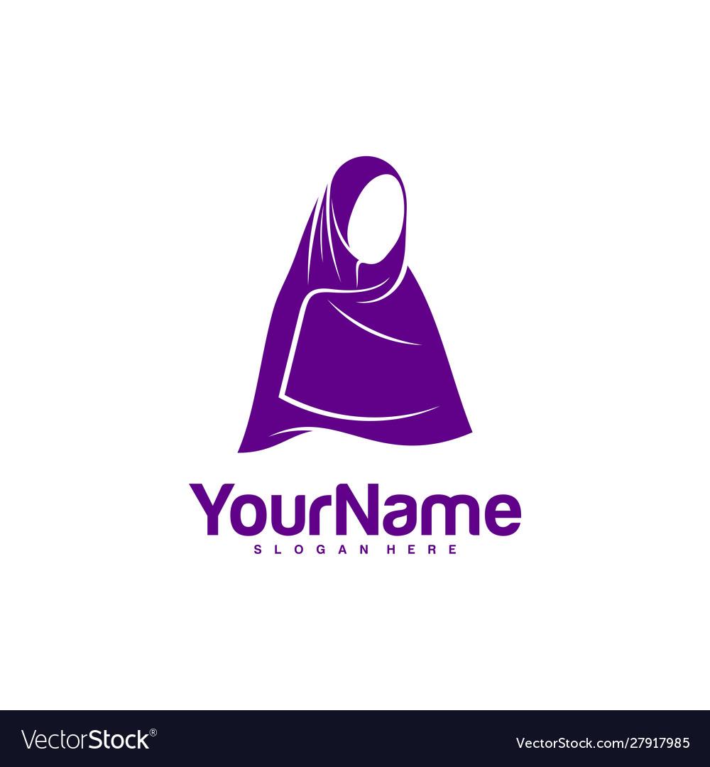 Muslimah Hijab Logo Design Hijab Logo Template Vector Image