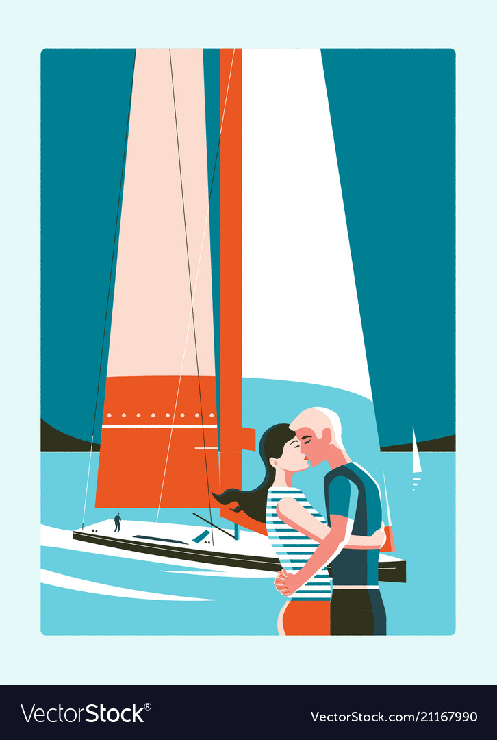 Couple kissing against sea and sailing yacht