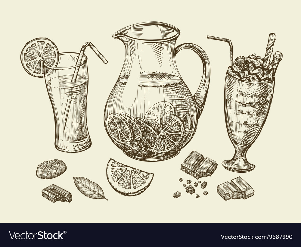 Drinks Hand drawn cocktail smoothie pitcher of vector image
