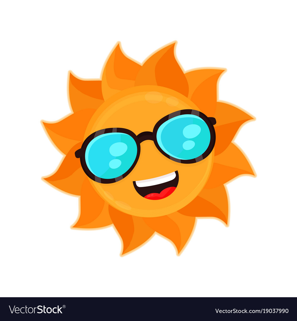 Happy funny smiling sun with sunglass
