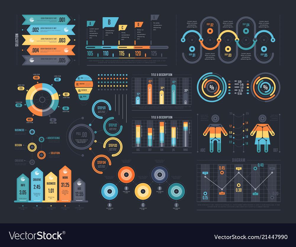 Infographic elements on dark background