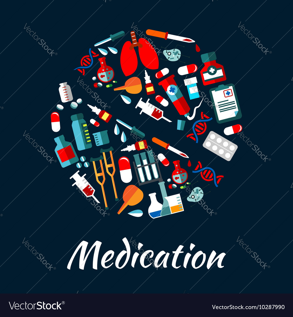 Medication poster with icons in pill shape vector image