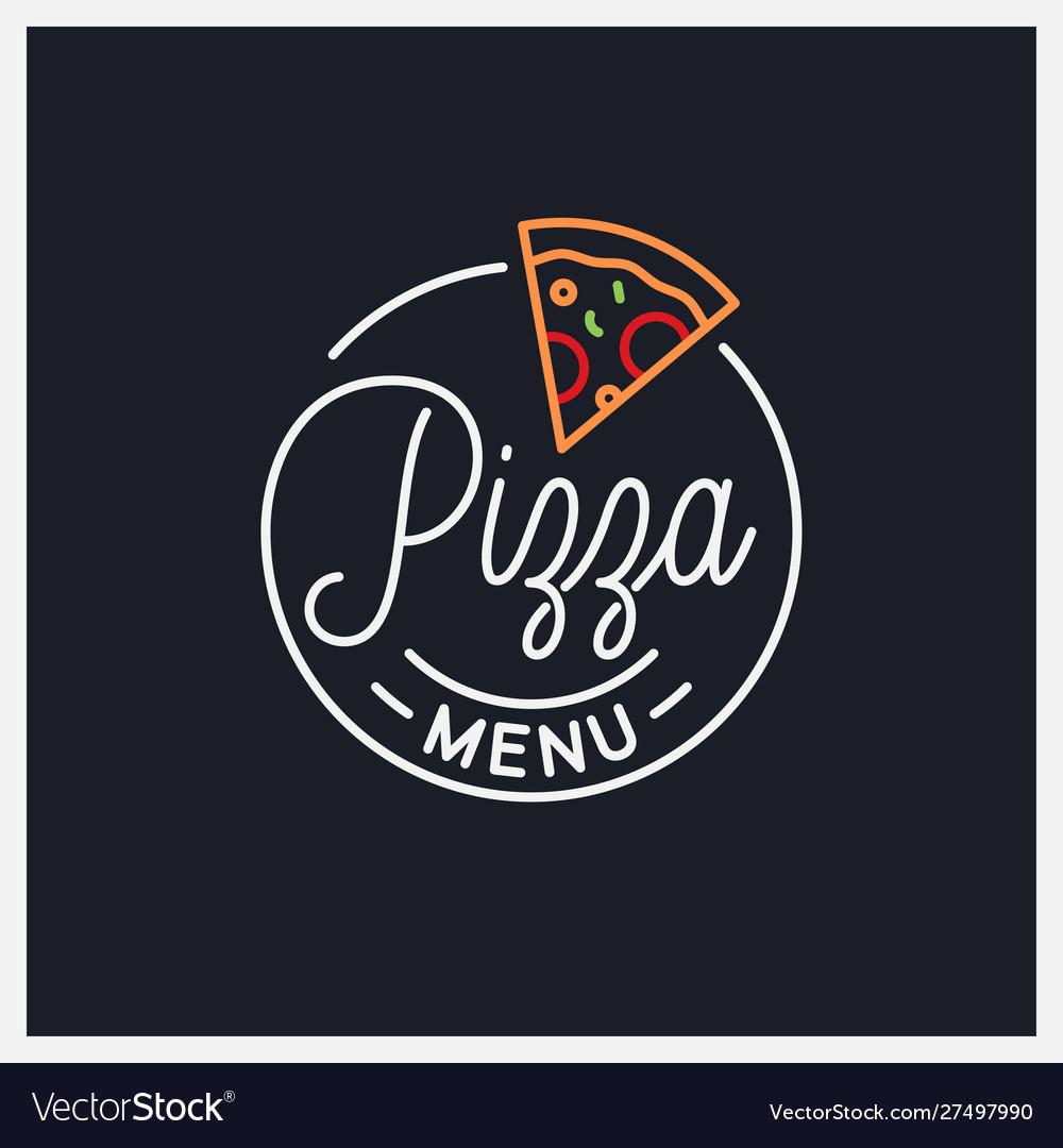 Pizza menu logo round linear logo pizza slice