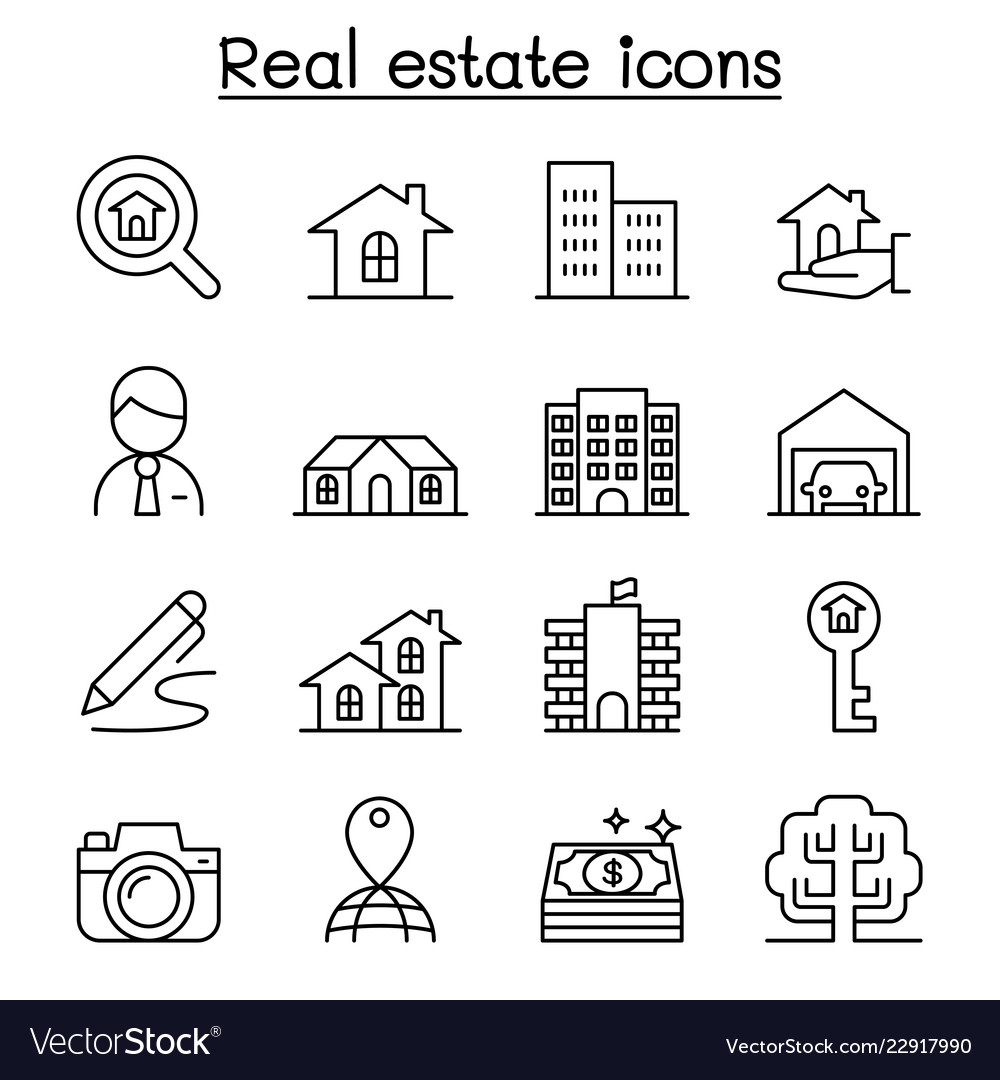Real estate icon set in thin line style