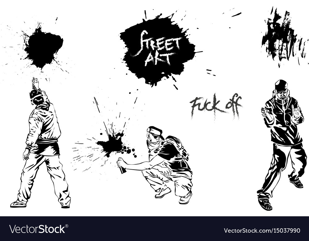 Set graffiti art artists signs and splashes vector image