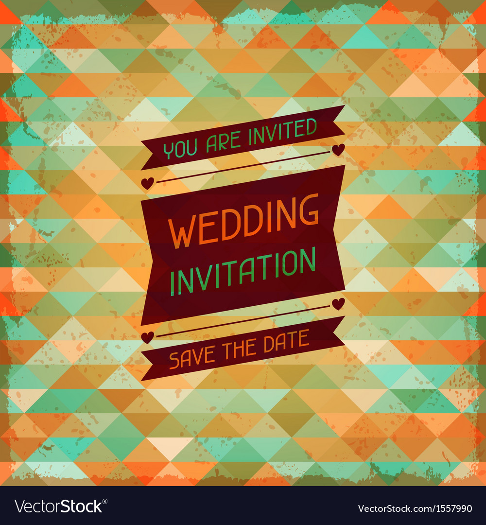 Wedding invitation card in retro style Royalty Free Vector
