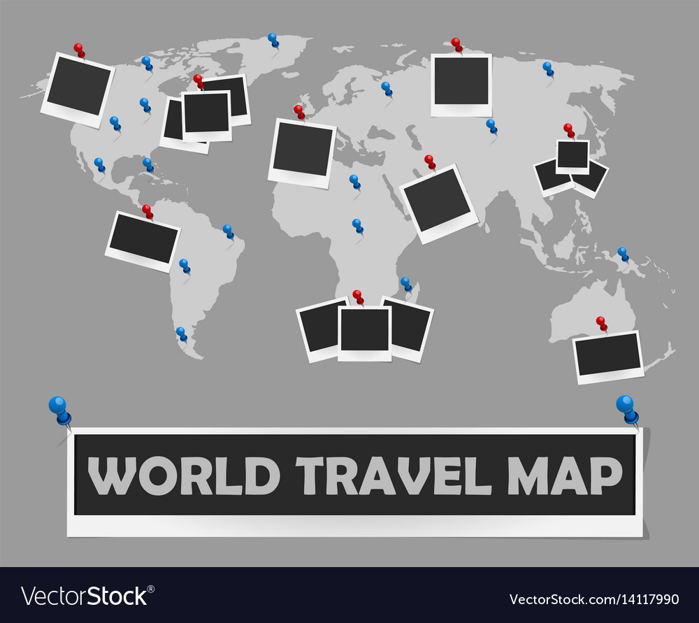 World Travel Map With Photo Frames And Pins Vector Image - World travel map with pins and frame