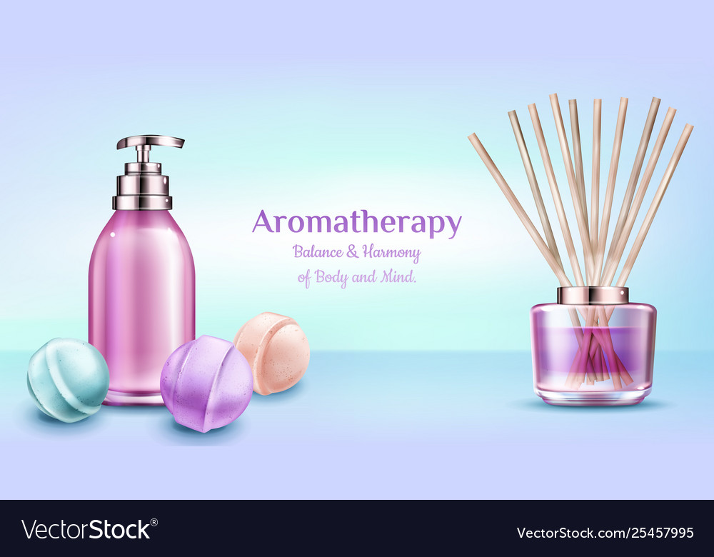 Aromatherapy Spa Treatment Cosmetic Beauty Banner Vector Image