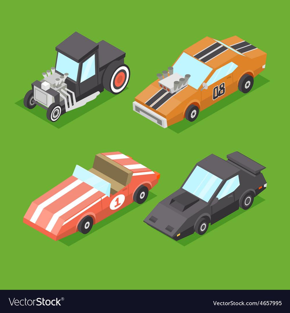 Cartoon Isometric Super Cars vector image
