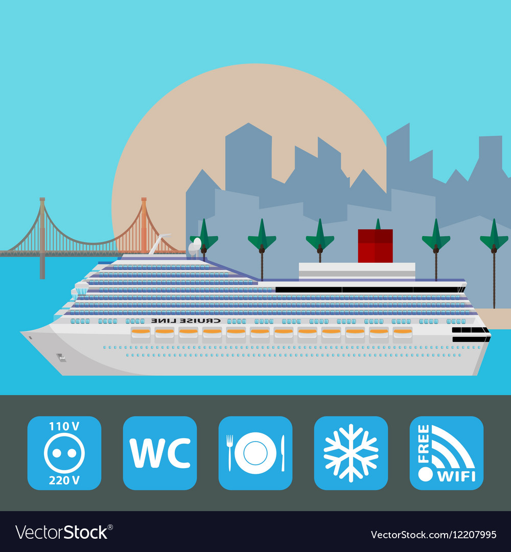 Cruise ship Holiday travel poster Flat design