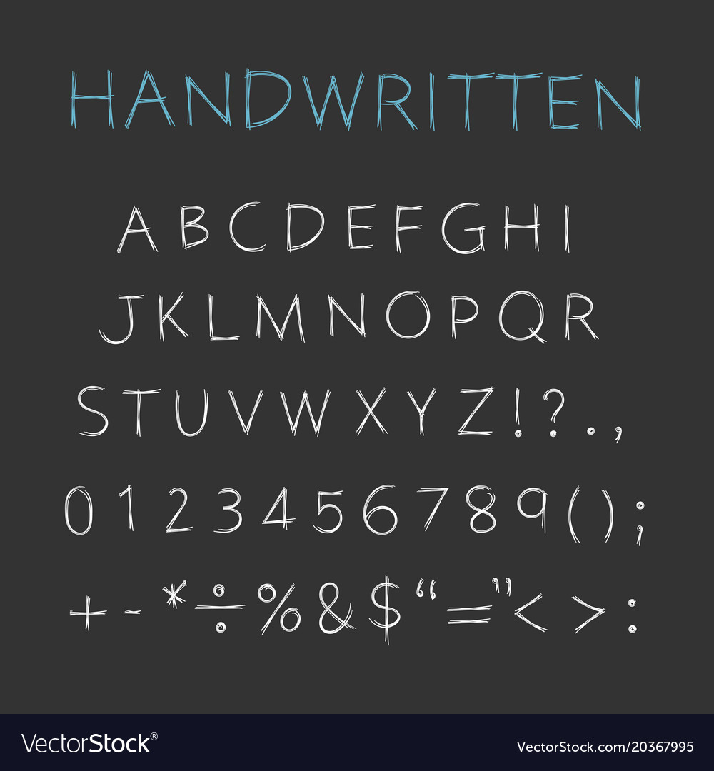 Handwritten alphabet capital letters with