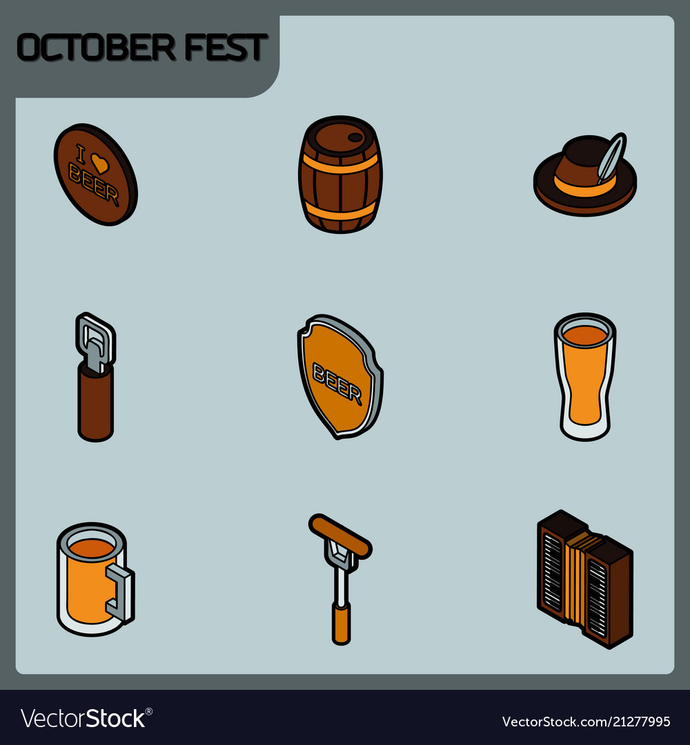 Octoberfest color outline isometric icons