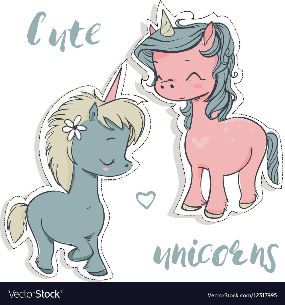 Pink and blue cartoon unicorns