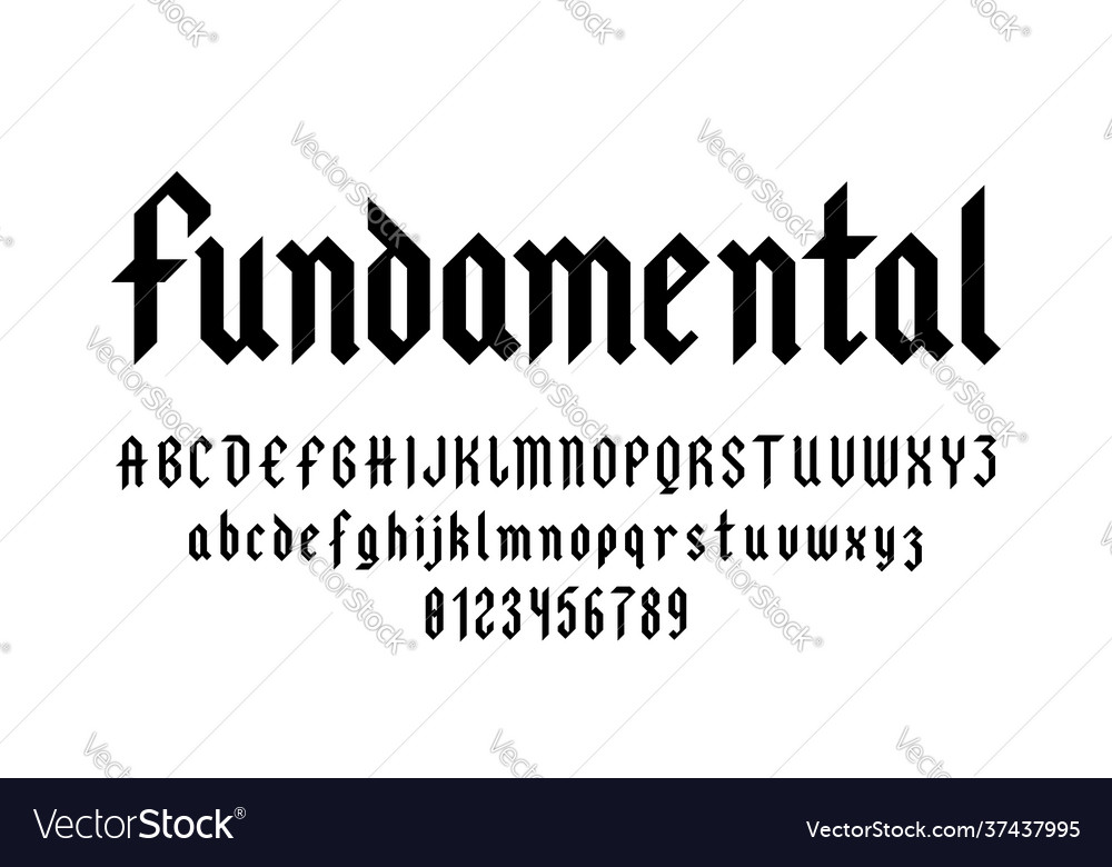 Set alphabets font letters and numbers
