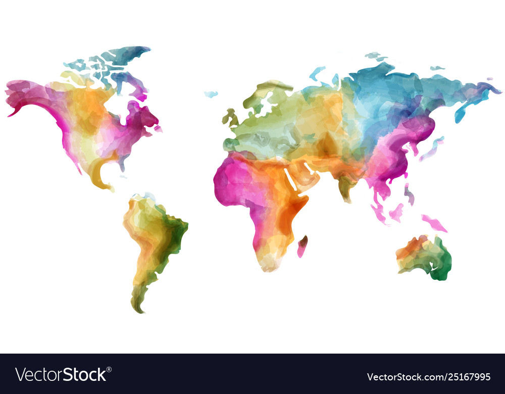 World map watercolor colorful