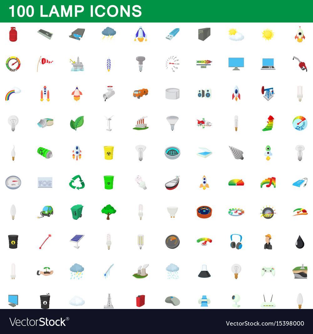 100 lamp icons set cartoon style