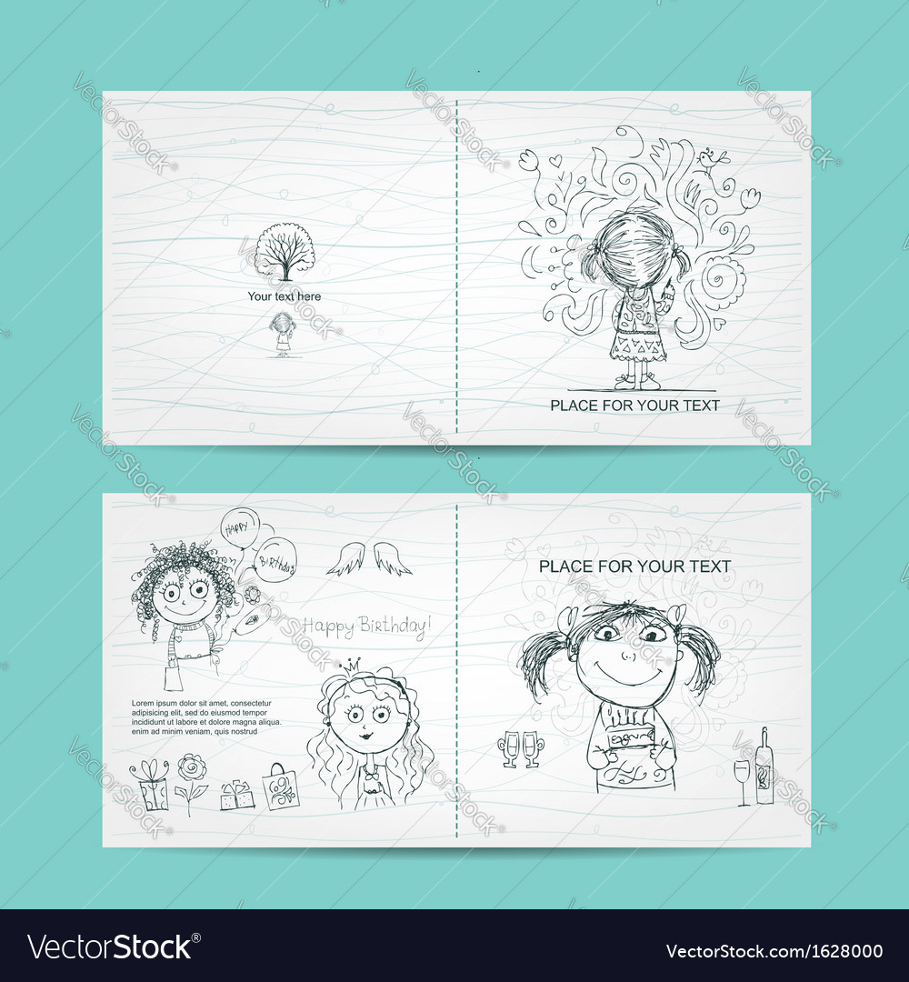 Birthday card template with cute girls sketch for