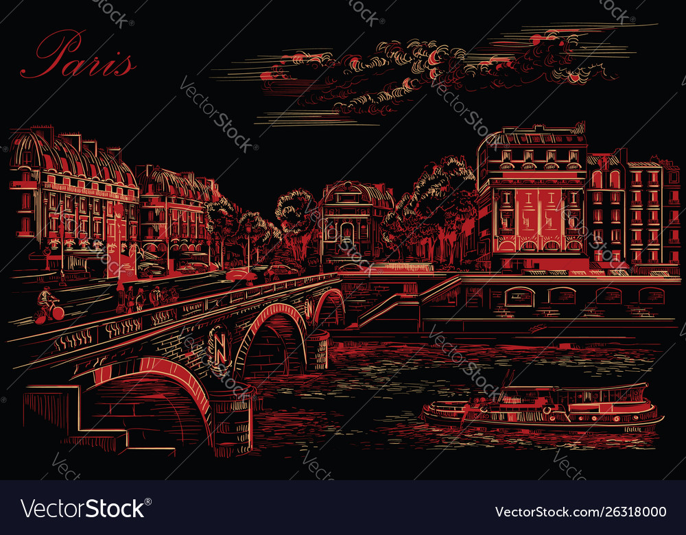Black and red hand drawing paris 7