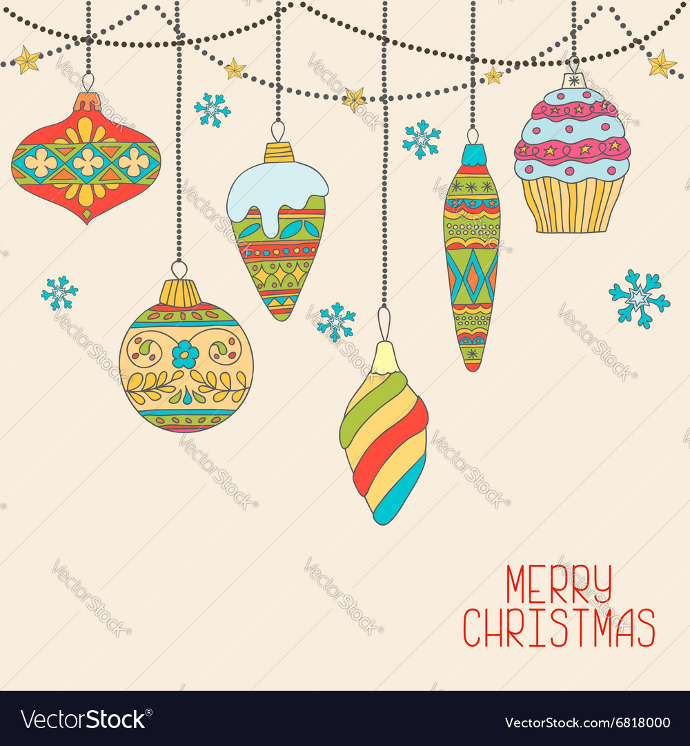 Christmas hand drawn decorative balls