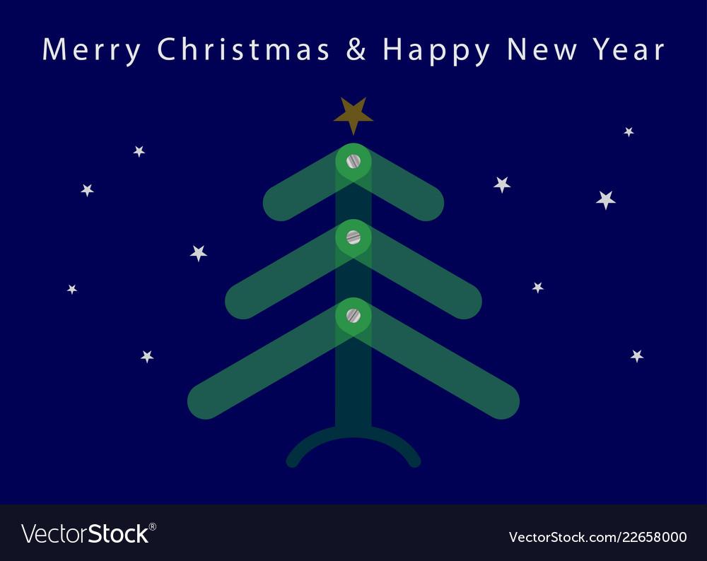 Christmas new year card - translucent tree stars