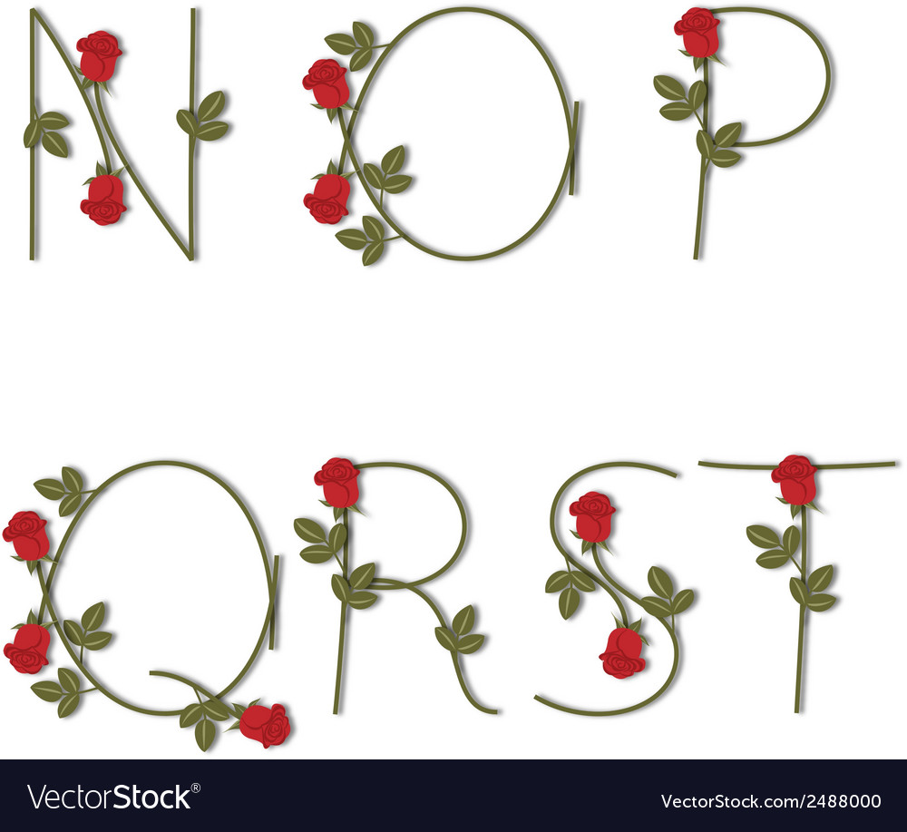 Floral alphabet Red roses with shadow from N to T