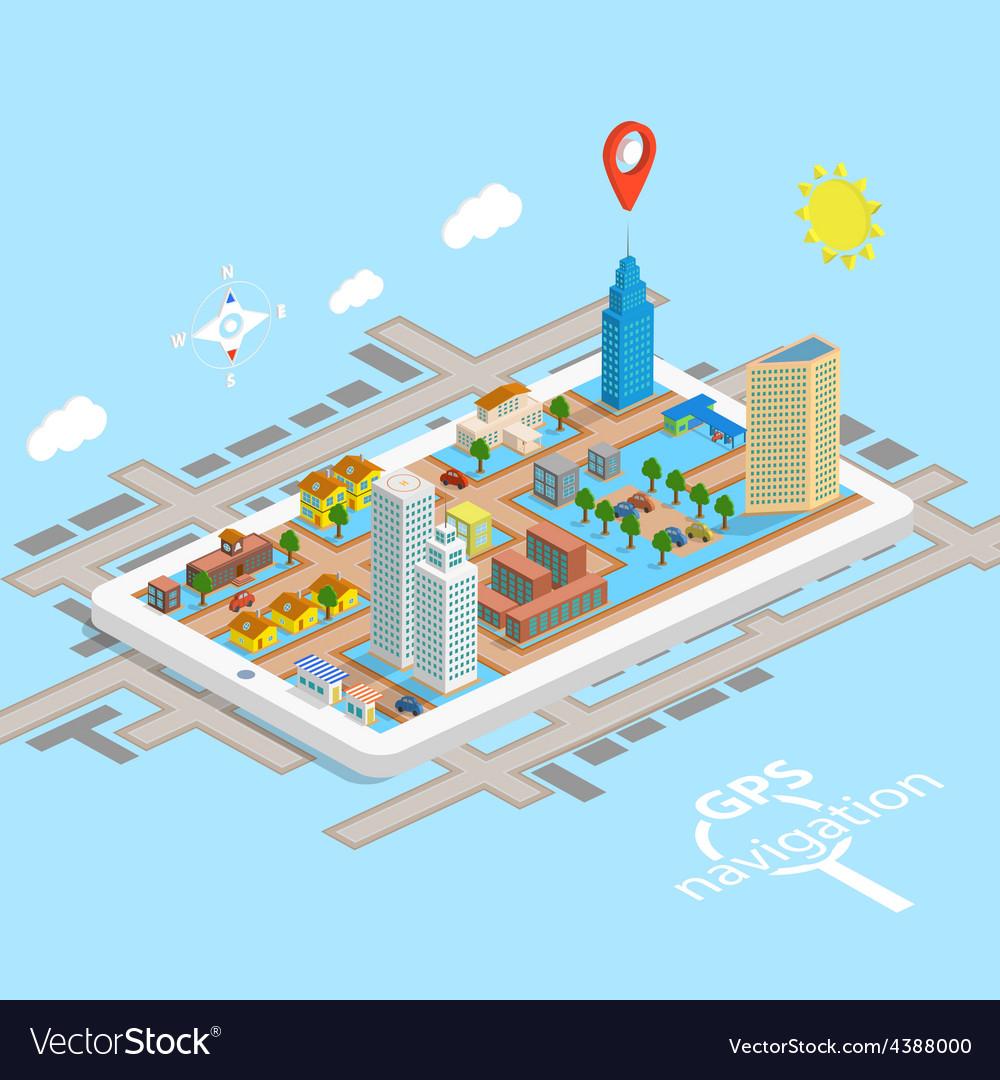 GPS Mobile Navigation Isometric Map