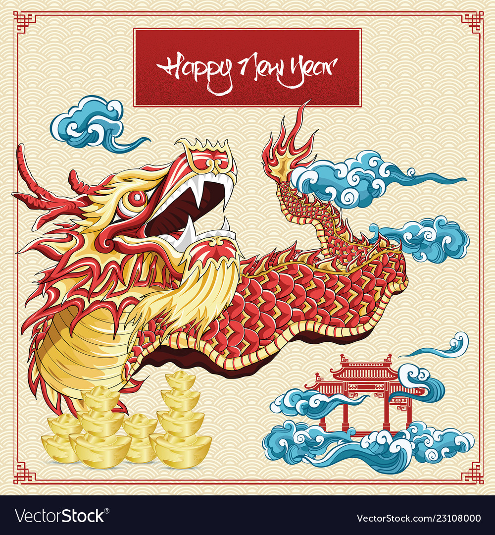 39d442b23 Happy chinese new year dragon dance cloud and Vector Image